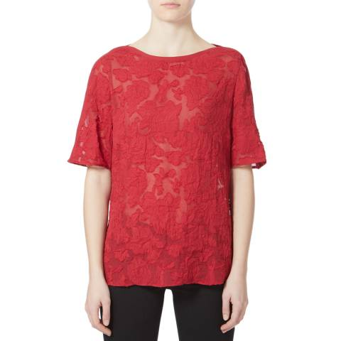 Reiss Redcurrant Gabriella Burnout Top