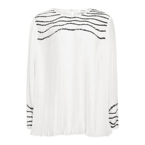 Reiss Off White Deniz Sequin Top