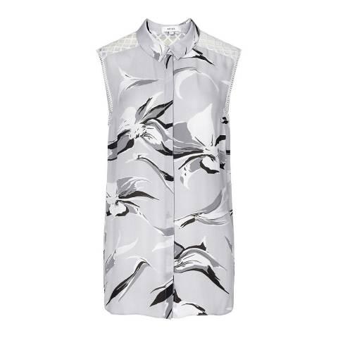 Reiss Grey/Black Printed Silk Shirt