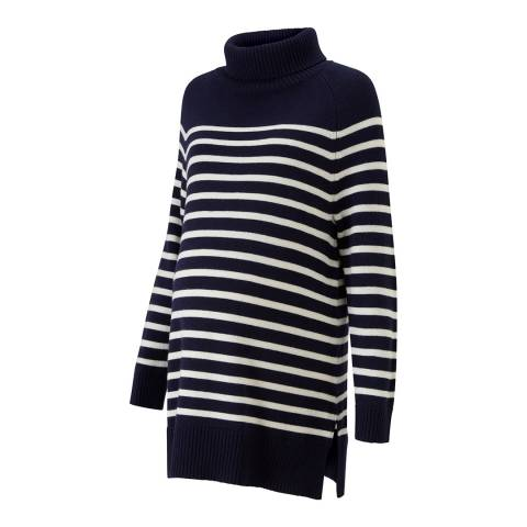 Isabella Oliver Navy with White Stripe Jolie Maternity Stripe Turtleneck