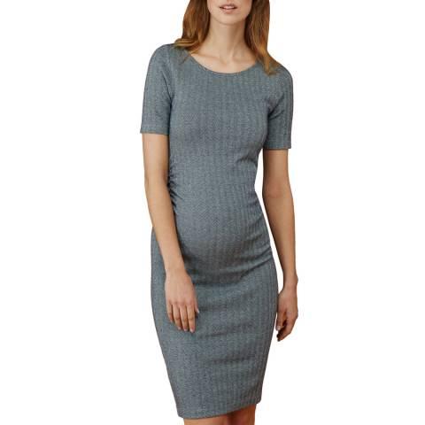 Isabella Oliver Navy/Grey Herringbone Effra Ruched Maternity Dress