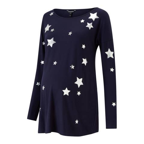 Isabella Oliver Navy with Silver Stars Rosie Maternity Print Top