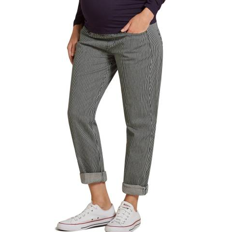 Isabella Oliver Navy and White Stripe  Maternity Stretch Trousers