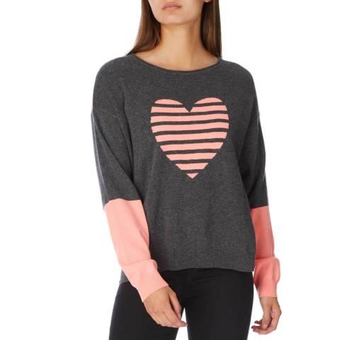 Cocoa Cashmere Ash/ Mango Heart Stripe Cashmere Jumper