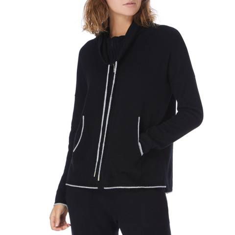 Cocoa Cashmere Black Cashmere Zip Up Hoodie