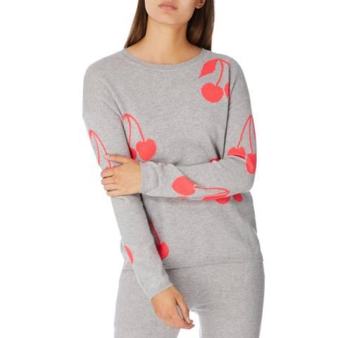 Cocoa Cashmere Grey/Chilli Cherry Cashmere Jumper