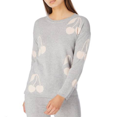 Cocoa Cashmere Grey/Pale Pink Cherry Cashmere Jumper