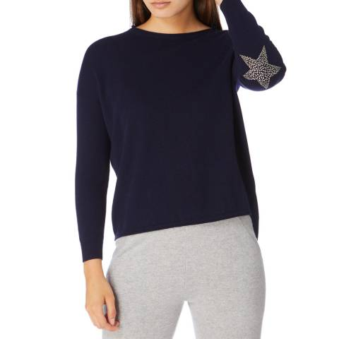Cocoa Cashmere Navy Hot Fix Star Cashmere Jumper