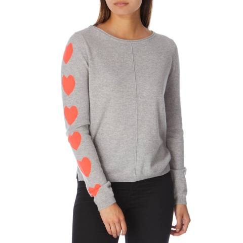 Cocoa Cashmere Grey/Chilli Heart Sleeve Cashmere Jumper
