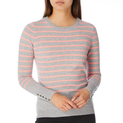 Cocoa Cashmere Grey/ Mango Striped Cashmere Jumper
