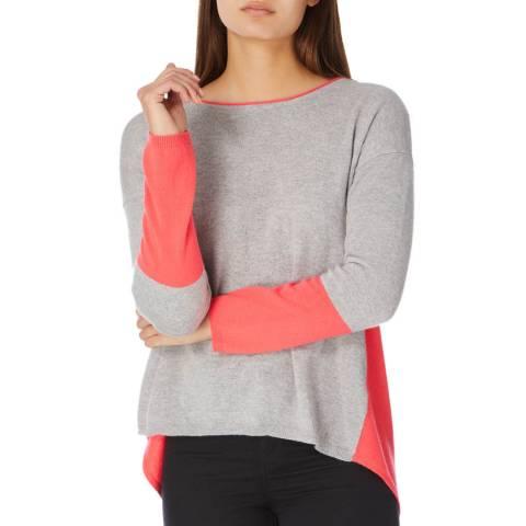 Cocoa Cashmere Grey/ Fluro Pink Contrast Cashmere Jumper