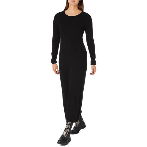 Cocoa Cashmere Black Maxi Length Cashmere Dress