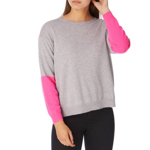 Cocoa Cashmere Grey/ Pink Cashmere Panel Jumper