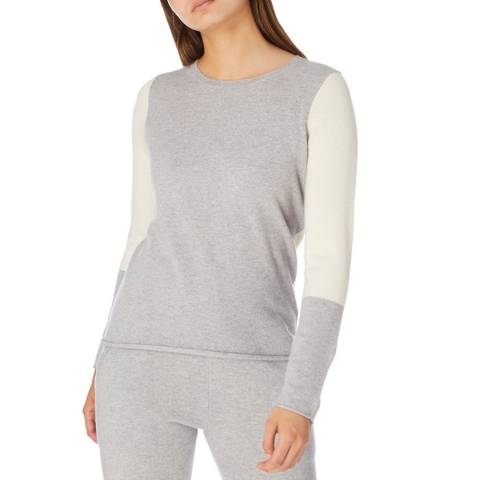 Cocoa Cashmere Grey/ Cream Colour Block Cashmere Jumper