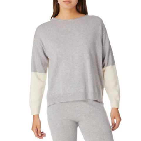 Cocoa Cashmere Grey/ Cream Panel Cashmere Jumper