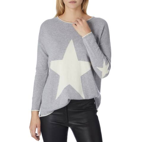 Cocoa Cashmere Grey/ Cream Star Centre Front and Elbow Jumper