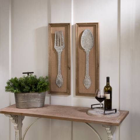 Tripar Set of 2 Spoon and Fork Wall Art