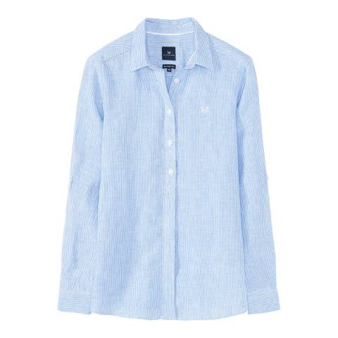 Crew Clothing Blue/White Stripe Linen Shirt