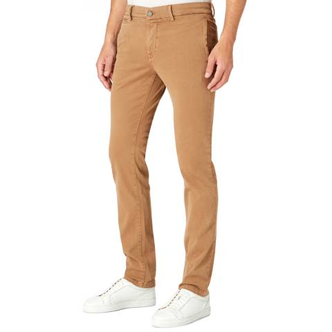 7 For All Mankind Camel Luxe Sateen Stretch Slim Chinos