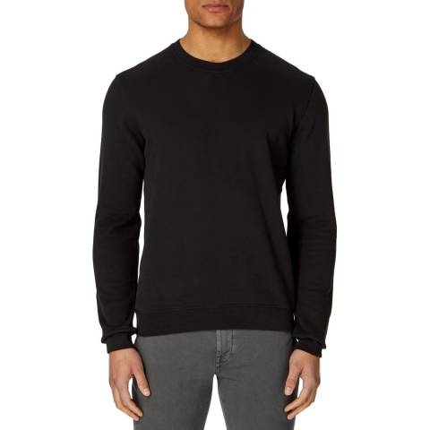 7 For All Mankind Black Hand Stitched Cotton Sweatshirt