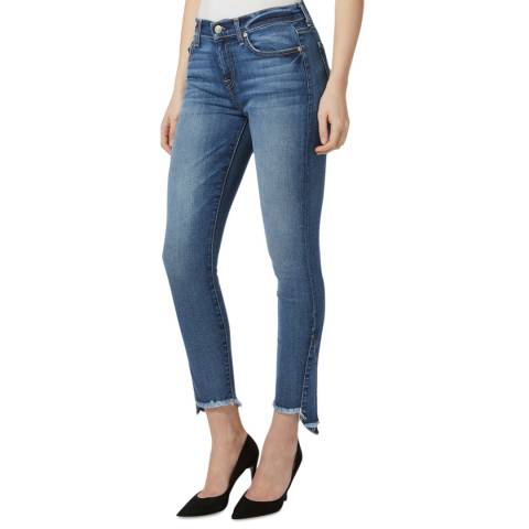 7 For All Mankind Mid Blue Kick Side Stretch Skinny Jeans