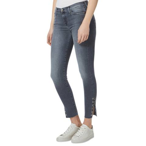 7 For All Mankind Grey Eyelet Skinny Stretch Jeans