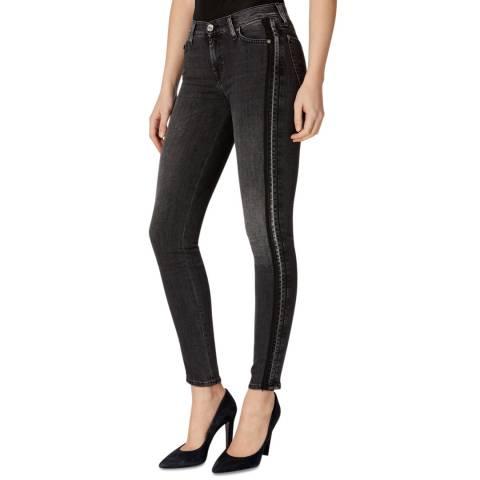 7 For All Mankind Dark Grey Illusion Skinny Stretch Jeans