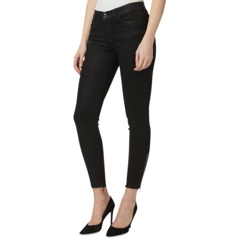 7 For All Mankind Black Raw Hem Stretch Skinny Jeans