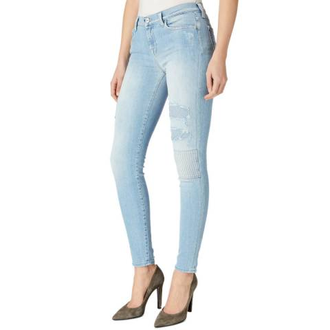 7 For All Mankind Pale Blue Patchwork Skinny Stretch Jeans