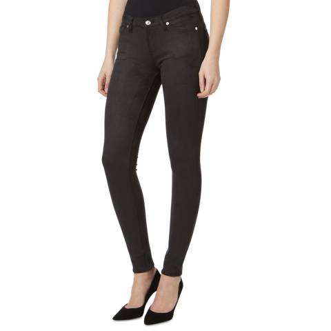 7 For All Mankind Black Leather-Like Skinny Stretch Jeans