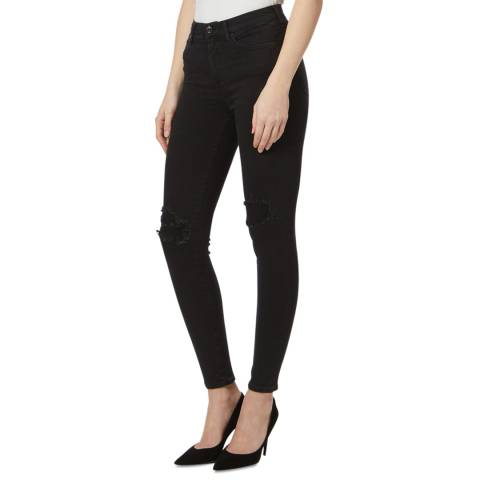 7 For All Mankind Black Distressed Luxe Skinny Jeans