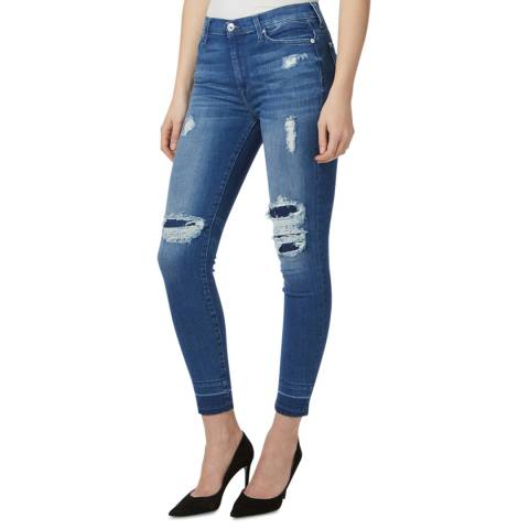 7 For All Mankind Mid Blue Distressed Stretch Skinny Jeans