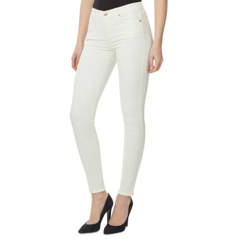 7 For All Mankind Ecru Embellished Stretch Skinny Jeans