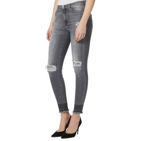 7 For All Mankind Grey Distressed Illusion Stretch Skinny Jeans