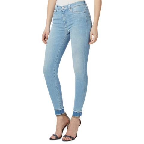 7 For All Mankind Light Blue Stretch Skinny Cropped Jeans