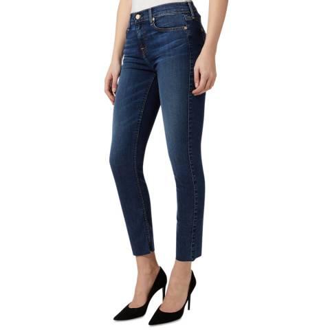 7 For All Mankind Dark Blue Roxanne Hem Stretch Skinny Jeans