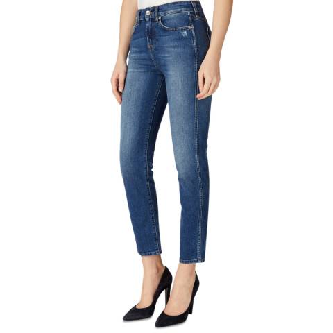 7 For All Mankind Blue Erin Lounge Skinny Stretch Jeans