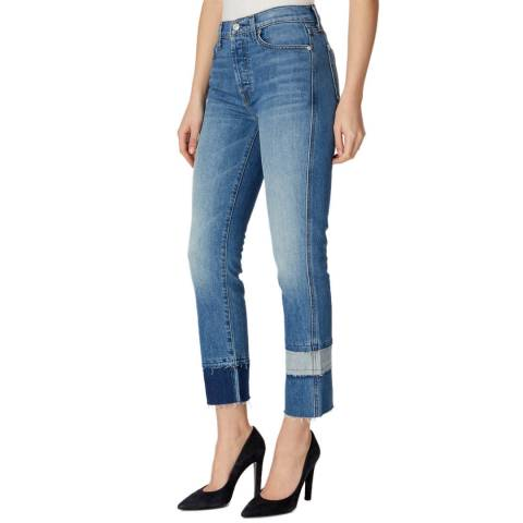 7 For All Mankind Blue Edie Vintage Frayed Stretch Skinny Jeans