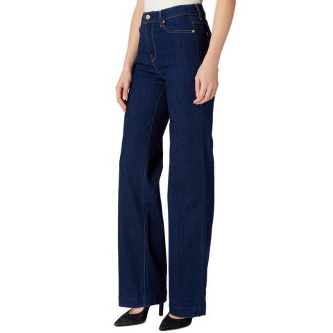 7 For All Mankind Indigo Alexa Crease Stretch Wide Jeans