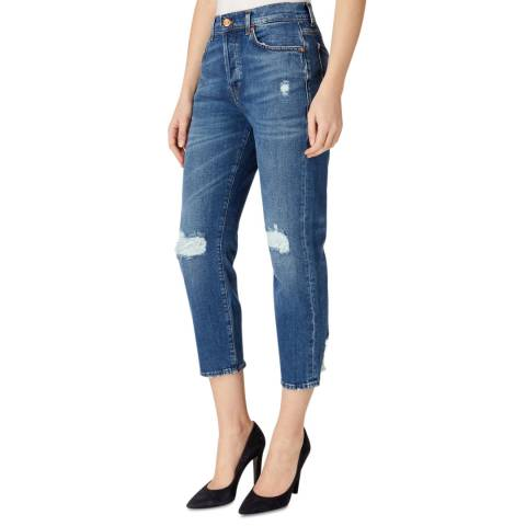 7 For All Mankind Blue Josefina Distressed Stretch Skinny Jeans