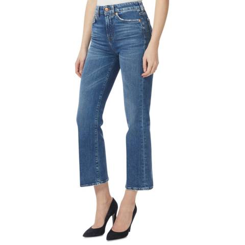 7 For All Mankind Blue Vintage Cropped Stretch Jeans