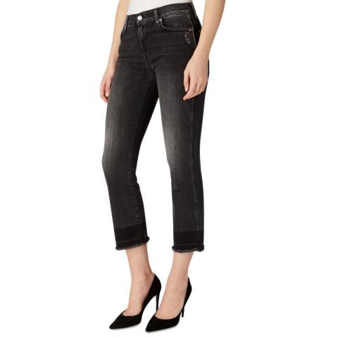 7 For All Mankind Black Illusion Stretch Slim Bootcut Jeans