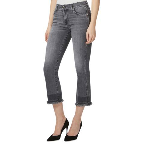7 For All Mankind Grey Cropped Unrolled Bootcut Stretch Jeans