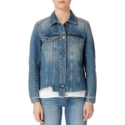7 For All Mankind Blue Modern Trucker Denim Jacket