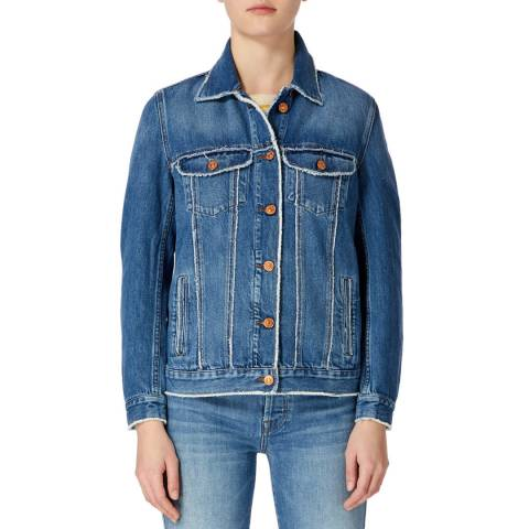 7 For All Mankind Mid Blue Modern Trucker Denim Jacket