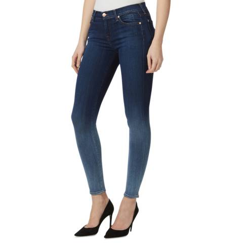 7 For All Mankind Mid Blue Illusion Luxe Stretch Skinny Jeans
