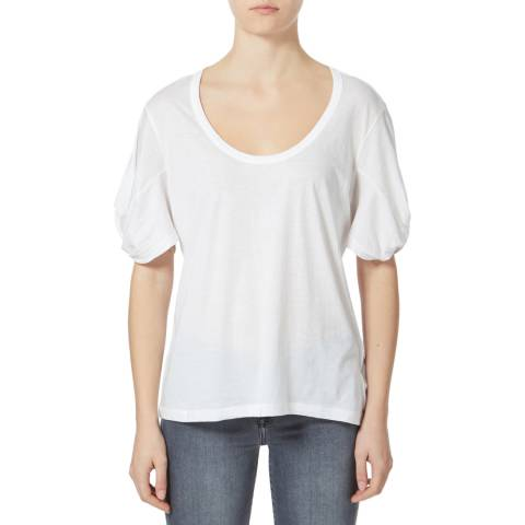 7 For All Mankind White Twist Sleeve Cotton T-Shirt