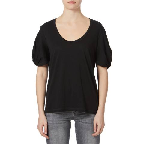 7 For All Mankind Black Twist Sleeve Cotton T-Shirt