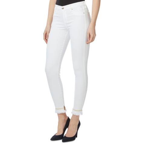 7 For All Mankind White Boho Cuff Stretch Skinny Jeans