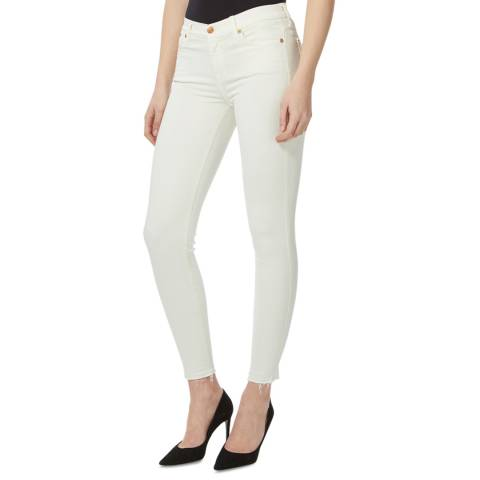 7 For All Mankind Ecru Slim Illusion Stretch Skinny Jeans